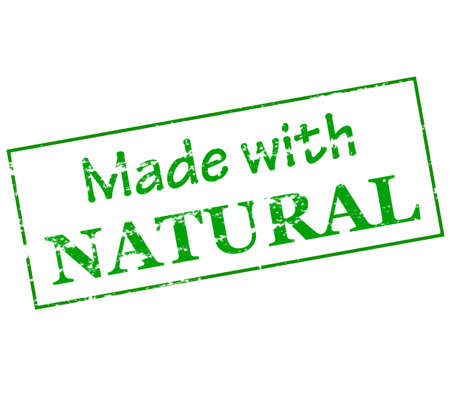 lifelike: Rubber stamp with text made with natural inside, vector illustration Illustration