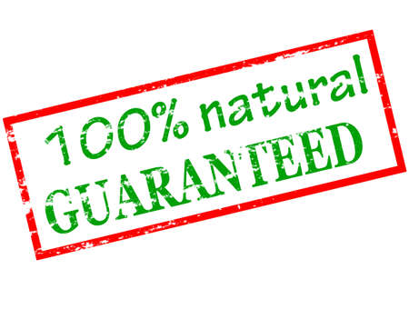 hundred: Rubber stamp with text one hundred percent natural guaranteed inside, vector illustration