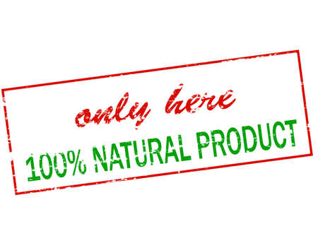 lifelike: Rubber stamp with text only here one hundred percent natural product inside, vector illustration Illustration