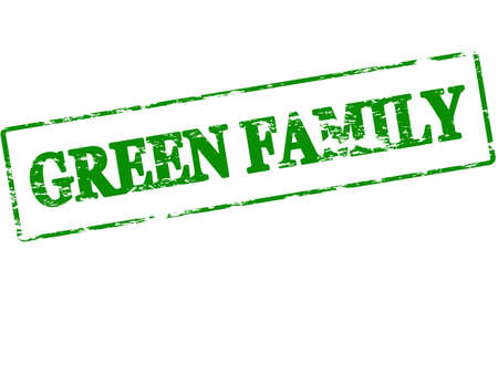 parentage: Rubber stamp with text green family inside, vector illustration