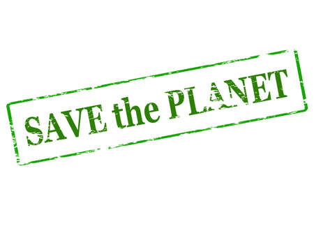 redeem: Rubber stamp with text save the planet inside, vector illustration Illustration