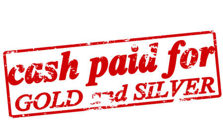 argent: Rubber stamp with text cash paid for gold and silver inside, vector illustration