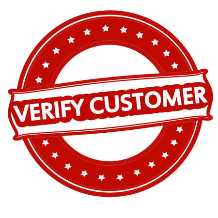 prove: Rubber stamp with text verify customer inside, vector illustration