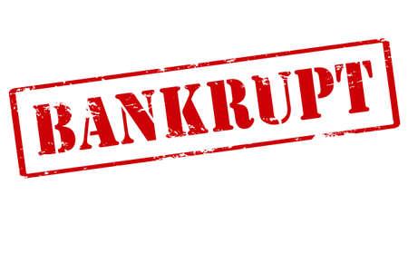 Rubber stamp with word bankrupt inside, vector illustration