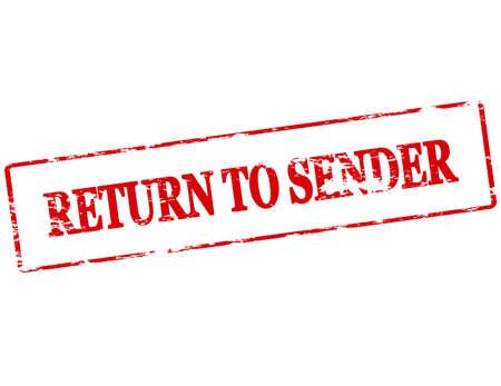 sender: Rubber stamp with text return to sender inside, vector illustration