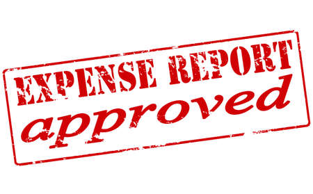 expense: Rubber stamp with text expense report approved inside, vector illustration