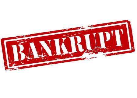 insolvent: Rubber stamp with word bankrupt inside, vector illustration