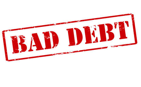 indebtedness: Rubber stamp with text bad debt inside, vector illustration