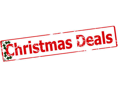 dealings: Rubber stamp with text Christmas deals inside, vector illustration