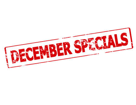 specials: Rubber stamp with text December specials inside, vector illustration
