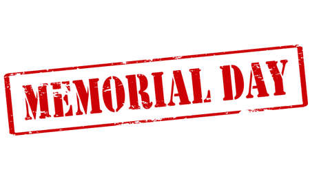 Rubber stamp with text memorial day inside, vector illustration