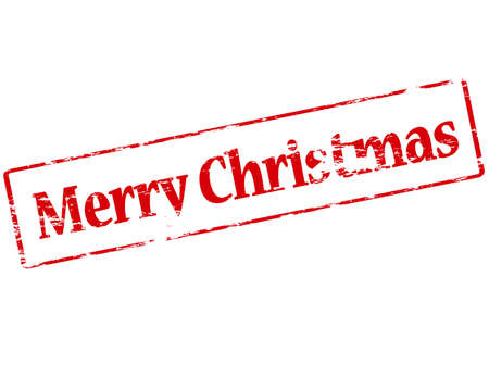 glad: Rubber stamp with text Merry Christmas inside, vector illustration