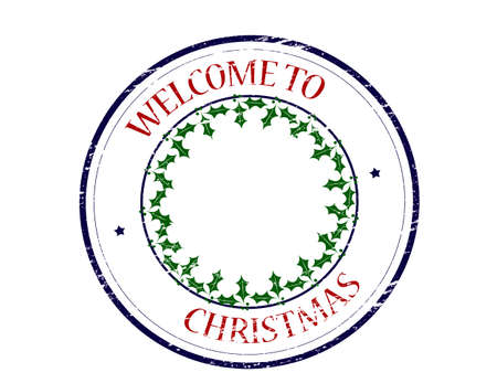 seasonable: Rubber stamp with text welcome to Christmas inside, vector illustration