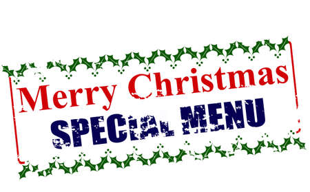 especial: Rubber stamp with text Merry Christmas special menu inside, vector illustration
