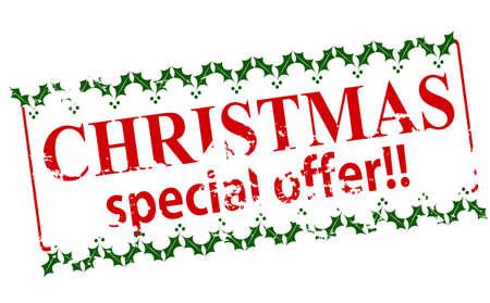 Rubber zegel met tekst Kerst speciale aanbieding binnen, vector illustratie