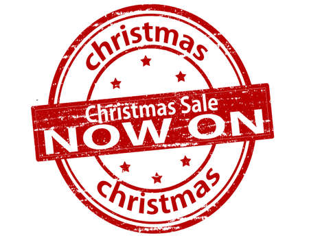 currently: Rubber stamp with text Christmas sale now on inside, vector illustration