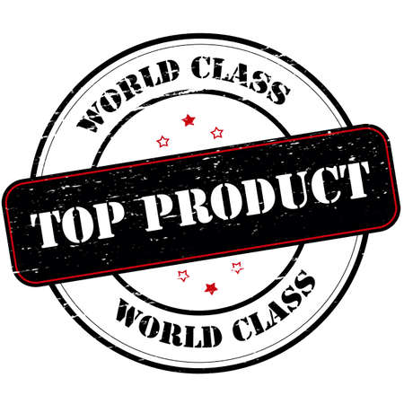 top of the world: Rubber stamp with text world class top product inside, vector illustration Illustration