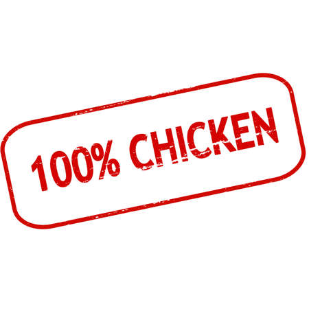 shape cub: Rubber stamp with text one hundred percent chicken inside, vector illustration Illustration