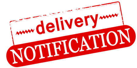 Rubber stamp with text delivery notification inside, vector illustration 向量圖像
