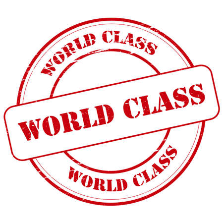 world class: Rubber stamp with text world class inside, vector illustration Illustration