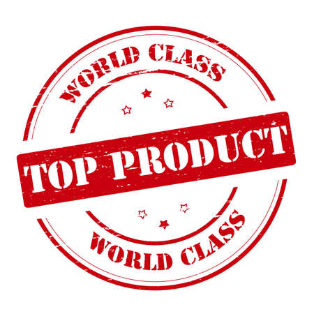 top class: Rubber stamp with text world class top product inside, vector illustration Illustration