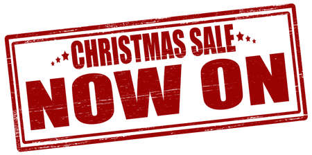 immediately: Rubber stamp with text Christmas sale now on inside, vector illustration