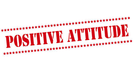 Sello de goma con el texto de la actitud positiva en el interior, ilustración vectorial