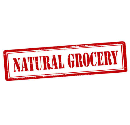 grocer: Rubber stamp with text natural grocery inside, vector illustration