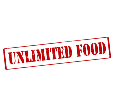 edibles: Rubber stamp with text unlimited food inside, vector illustration
