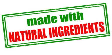lifelike: Rubber stamp with text made with natural ingredients inside, vector illustration