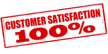 gratification: Rubber stamp with text customer satisfaction one hundred percent inside, vector illustration