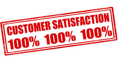 contentment: Rubber stamp with text customer satisfaction one hundred percent inside, vector illustration