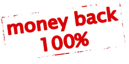 astern: Rubber stamp with text money back one hundred percent inside, vector illustration