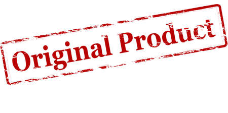peculiar: Rubber stamp with text original product inside, illustration Illustration
