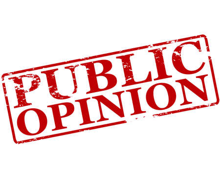 opinion: Rubber stamp with text public opinion inside, illustration