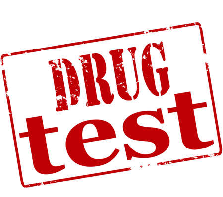 probation: Rubber stamp with text drug test inside, illustration Illustration
