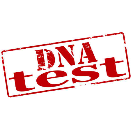 probation: Rubber stamp with text dna test inside, illustration