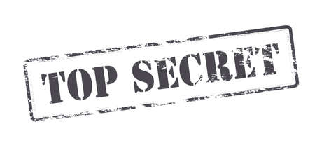 undisclosed: Rubber stamp with text top secret inside, illustration