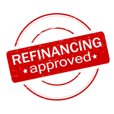 refinancing: Rubber stamp with text refinancing approved inside, vector illustration
