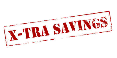 thrift: Rubber stamp with text xtra savings inside, vector illustration Illustration