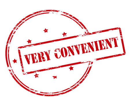 convenient: Rubber stamp with text very convenient inside, vector illustration
