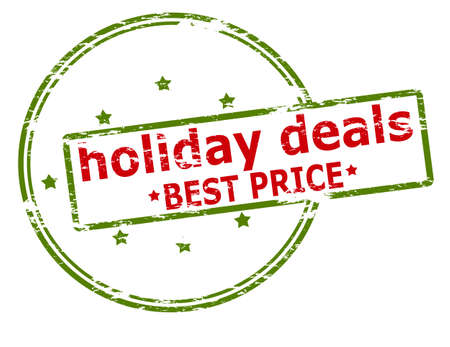 dealings: Rubber stamp with text holiday deals best price inside, vector illustration