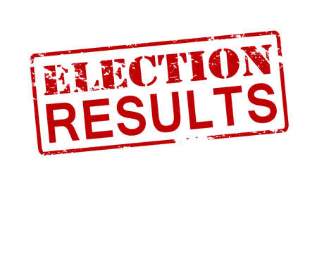 consequence: Rubber stamp with text election results inside, vector illustration Illustration