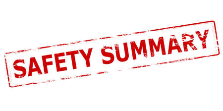 Rubber stamp with text safety summary inside, vector illustration