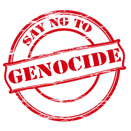 declare: Rubber stamp with text say no to genocide inside, vector illustration