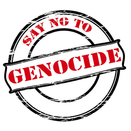 genocide: Rubber stamp with text say no to genocide inside, vector illustration