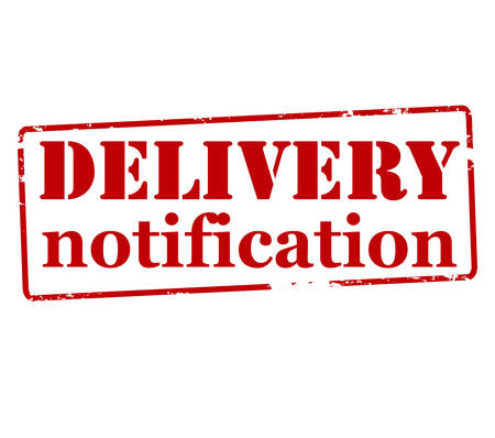 rendition: Rubber stamp with text delivery notification inside, vector illustration