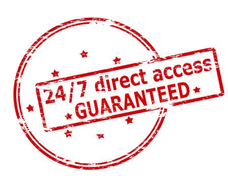 accession: Rubber stamp with text twenty four seven direct access guaranteed inside, vector illustration