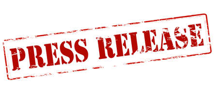 deliverance: Rubber stamp with text press release inside, vector illustration