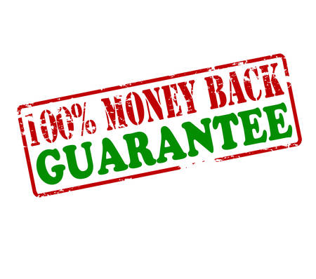 Rubber stamp with text one hundred percent money back guarantee inside, vector illustration